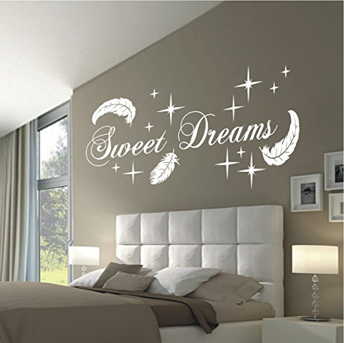 HomeTattoo ® WANDTATTOO Wandaufkleber Sweet Dreams Federn Sterne Deko Schlafzimmer Motiv 767 XL ( L x B ) ca. 58 x 140 cm (weiss 010)