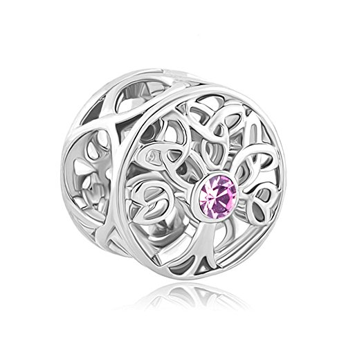 LovelyJewelry Lucky Family Tree of Life Jan-Dec Simulated Birthstone Celtic Knot Charm Beads for Bracelets