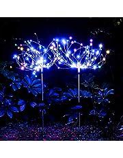 munloo Zonne-vuurwerklamp, 2 stuks zonne-verlichting, tuindecoratie, voor terras, gazon buiten balkon, kerstfeest, decoratie (multi)