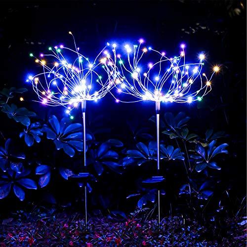 munloo Solar Feuerwerk Licht, 2 Stück Solarleuchten Garten Deko, für Patio Rasen Außen Balkon Weihnachtsfest-Dekor (Mehrfarbig)