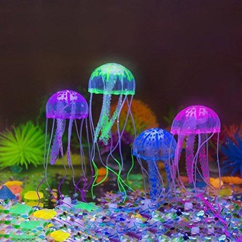 UEETEK 4pcs glühende künstlichen Quallen für Aquarium Fisch Tank Aquarium Dekoration