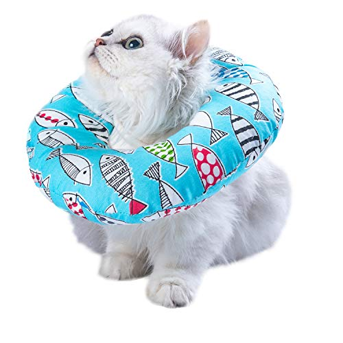 Adjustable Cat Recovery Collar Soft Cone for Cat's Head Wound Healing Protective Cone After Surgery Elizabethan Collars for Pets Kitten and Small Dogs Small