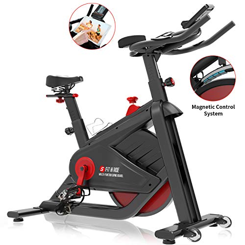 SNODE Magnetic Indoor Cycling Bike - Stationary Pro Belt Drive Spin Bike, Exercise Bike with Ultra-Wide Flywheel, Indoor Home Cardio Workout Exercise(Model: 8722 FIR 2019)