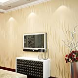 Modern Textured Wallpaper Non-Woven 3D Wave Pattern Environmental Protection Wallpaper Bricks for Living room BedrooTV Background [Beige]