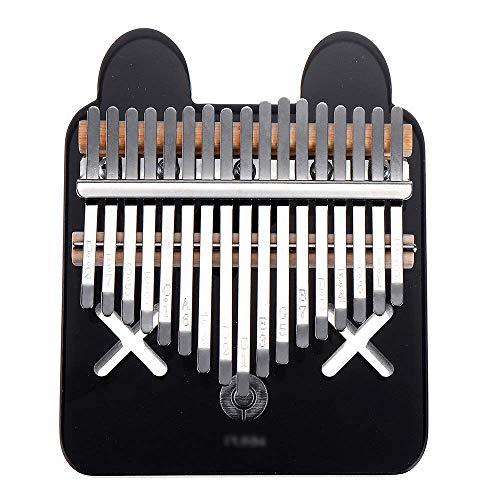 ZIEO Pocket Thumb Finger Piano17 Tasten Kalimba Crystal Thumb Klavier Acryl Tragbares Musikinstrument Geschenke Für Kinder Erwachsene Anfänger Finger Daumen Klavier (Size:B; Color:Black)