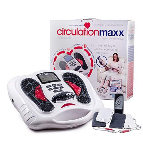 Circulation Maxx Elektrostimulations-Gerät I Förderliche Mikro-Reizstrom-Behandlung für die Füße I 25 Programme - 99 Level - Fernbedienung I BioEnergiser Electrical Stimulator, beige