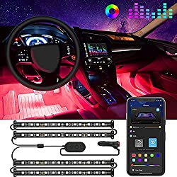 Image of Govee Interior Car Lights, LED Car Strip Lights with Two-Line Waterproof Design, 48 LEDs App Control Car Light Kit, DIY Mode and Music Sync Under Dash Car Lighting with Car Charger, DC 12V: Bestviewsreviews