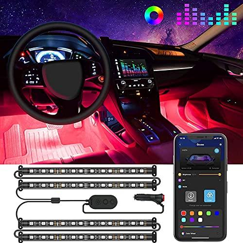 Govee Interior Car Lights, LED Car Strip Lights with 2 Lines Waterproof Design, 48 LEDs App Control Car Light Kit, DIY Mode and Music Sync Under Dash Car Lighting with Car Charger, DC 12V