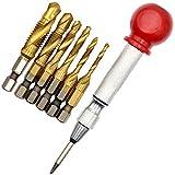 Gesh Juego de 7 brocas de rosca métricas HSS de 1/4 pulgadas con perforadora central automática