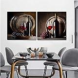 Carteles Impresiones Arte de la pared Pintura en lienzo Uva Copas de vino y...