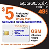 $5 SIM Card 100 Minutes Talk + 100 Text + 100 MB 4G LTE Data