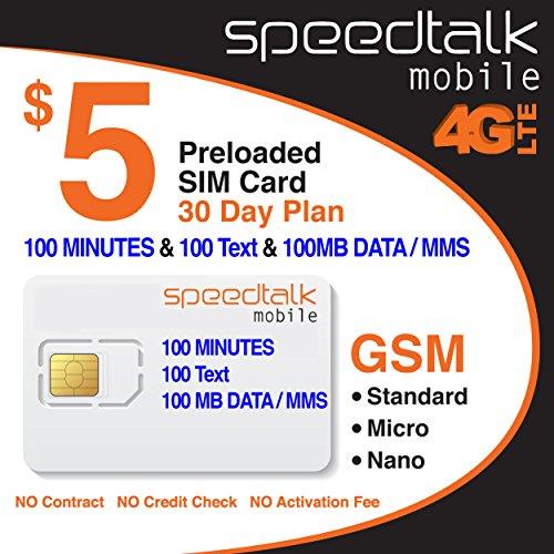 $5 SIM Card 100 Minutes Talk + 100 Text + 100 MB 4G LTE Data