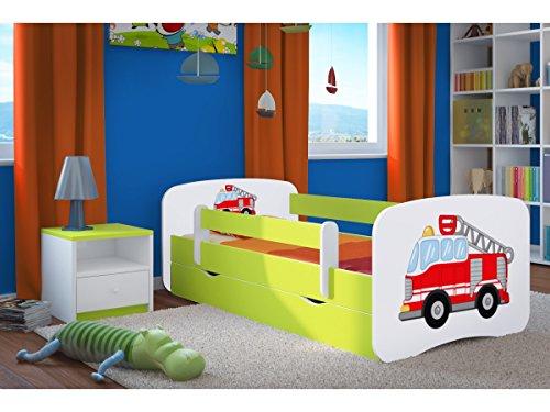 Kocot Kids Kinderbett Jugendbett 70x140 80x160 80x180 Grün mit Rausfallschutz Matratze Schublade und Lattenrost Kinderbetten für Mädchen und Junge - Feuerwehr 180 cm
