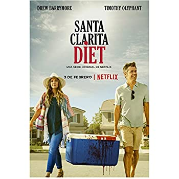 Timothy Olyphant 8 Inch x10 Inch Photograph Santa Clarita Diet  TV Series 2017 -   w/Drew Barrymore Carrying Cooler Title Poster kn