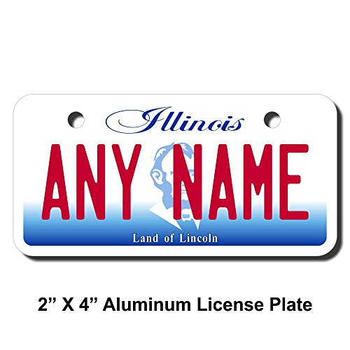 TEAMLOGO Personalized Illinois License Plate - Sizes for Kid's Bikes, Cars, Trucks, Cart, Key Rings Version 2 (3 X 6 FRP Plastic License Plate)