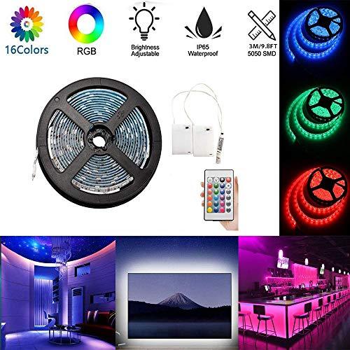 3m RGB LED Streifenlichter Batteriebetriebenerm flexibler wasserdichter RGB-LED-Streifenlichter Seillichter Farbwechselstreifenlichter mit Batterie-Stromversorgungsbox und Fernbedienung