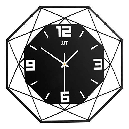 HUHN Octágono Reloj de pared con esfera grande, silencioso reloj de pared de...