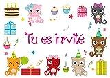 Edition Colibri - Lote de 10 tarjetas de invitación para cumpleaños infantiles, diseño de gatos pequeños en francés (10978 FR)
