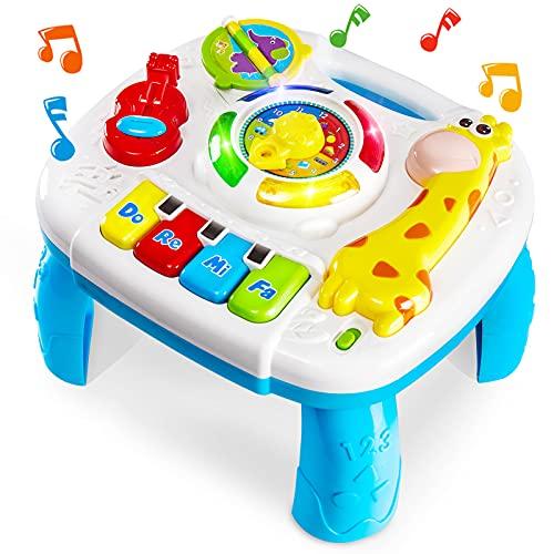 HERSITY Mesa de Actividades Juguetes Musicales Regalos para Bebés Educación Temprana Infantil Juegos con Luz y Sonido para Niños 18 Meses