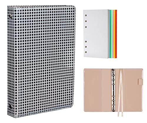 Cuaderno A6, cuaderno de 6 anillas, cubierta de cuero premium con cintas divisoras, bolsillos interiores, lazo para bolígrafo, 127 hojas de papel cuadrado (plateado)