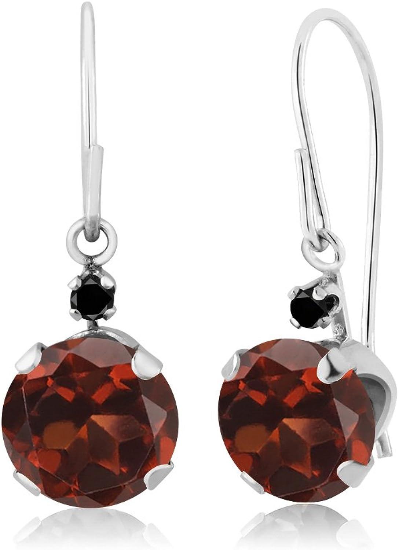 2.03 Ct Round Red Garnet Black Diamond 14K White gold Earrings