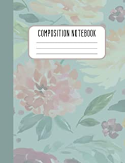 Composition Notebook: College Ruled Composition Notebook Pink Green Floral Design for Girls Women Mothers Blank Lined Journal