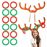 FORMIZON 2 Set Inflatable Reindeer Antler Game, Inflatable Reindeer Antler Hat, Antler Game Ring Toss with 12 Throwing Rings for Indoor Outdoor Game Christmas Party Game Inflatable Toys