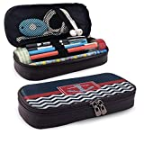 Leather Pencil Case White Navy Chevron Anchor Icon Big Capacity Storage Bag Pouch Holder Box with...
