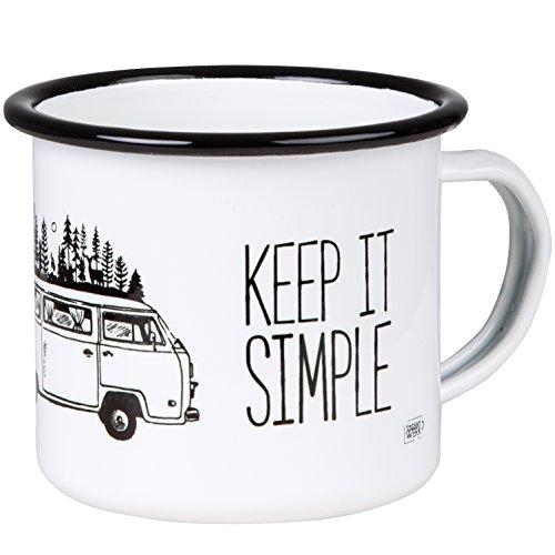 MUGSY Keep it Simple - Take it Easy TASSENWERK | Emaille Tasse mit Campervan Motiv im Outdoor Design | Emaille Becher bruchfest und leicht für Camping und Trekking | Retro Kaffebecher 300 ml