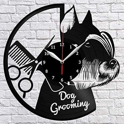 XYVXJ Aseo de Perros Sala de Estar Reloj de Pared 3D Disco de Vinilo Reloj de Pared Regalo Creativo Hecho a Mano Decoración de Pared Regalo de cumpleaños