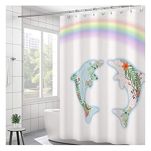 Douchegordijn Waterproof Mold Schimmelbestendig badkamer partitie Een Paar Dolfijnen Decoration Inclusief Haken (Size : 240X200cm)