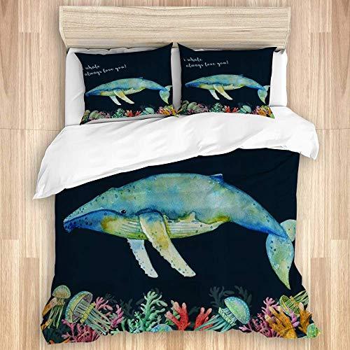 Funda nórdica, Whale Always Love You, Juego de Cama de Microfibra de Calidad Ultra Suave Diseño Moderno y cómodo