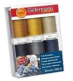 Gutermann 731144-1-Set di Fili in Denim, 100 m x 6 Bobine, Multicolore