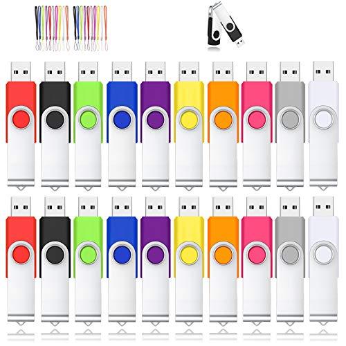 TOAUXUNG Chiavette USB 8GB 20Pezzi Pendrive USB 2.0 Portatile Rotante a 360 °per Archiviazione Dati con Corda (8GB, Multicolore x 20)