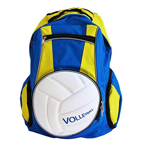 Diapolo Professionale Rucksack Volleyball Funktionrucksack Tasche Sporttasche (Royalblau-Gelb)