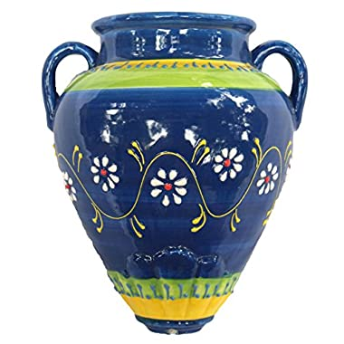 Cactus Canyon Ceramics Wall Flower Pot - Spanish Tinaja - Cielo Azul - Hand Painted in Spain