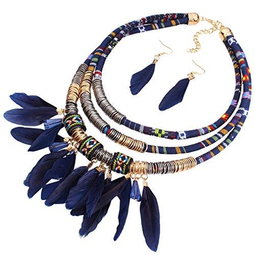 Yazilind 18K Vogue Résine Tissu Plume Pendentif Bleu Choker Collier Déclaration de Collier Femme Boucles d'oreilles