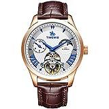 Relojes De Pulsera,Reloj De Hombre con Reloj Mecánico Automático Tourbillon De Fase Lunar, R