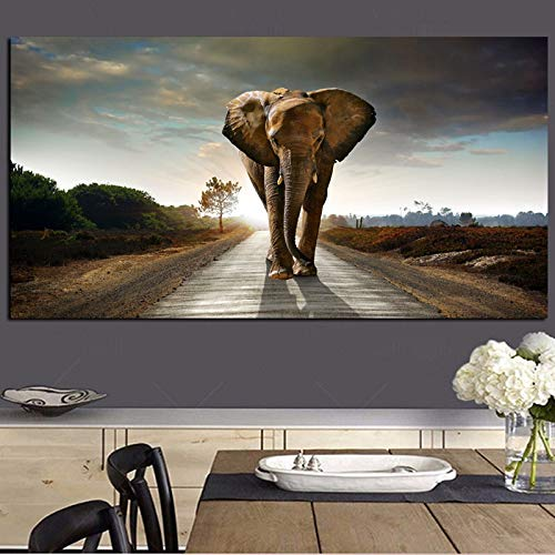 Olifant Animal Landschap olieverfschilderij op canvas Pop Art Posters en kunstdruk abstracte kunst wandschilderij voor woonkamer decoratie 40x80cm Unframd