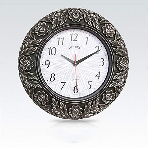 Reloj de Pared 3D Retro de 33 cm Reloj Envejecido Reloj de Pared Redondo silencioso sin tictac para decoración del hogar para el hogar/Oficina/Escuela (D 33 cm)