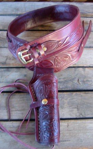 Burgundy Wine Single Western Genuine Leather Gun SASS Single...