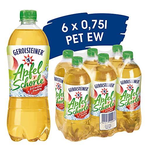 Gerolsteiner Apfelschorle mit 50% Fruchtgehalt / Natürliches Mineralwasser mit prickelnder Kohlensäure, kombiniert mit leckerem Apfelsaft / 6 x 0,75 L PET Einweg Flaschen