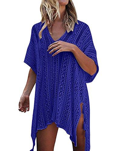 kenoce Damen Strandkleid Bikini Cover-Ups Sommer Gestrickte Asymmetrisch Strandurlaub Strandponcho Badeanzug Oversize Blau Einheitsgröße
