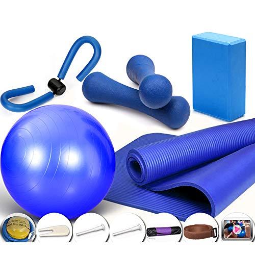 Gymnastikball Für Geburt, Bodybuilding, Physiotherapie(Mit Fitnessmatte, Pumpe, Kurzhanteln),Blau