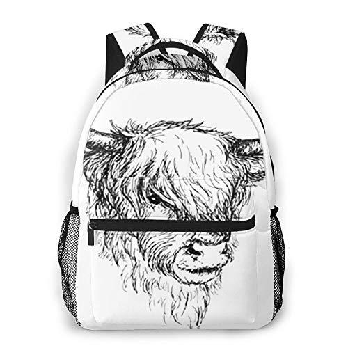 USGYY Rucksack Männer und Damen Highland Ländlich behaart, Laptop Rucksäcke, Kinderrucksack Schulrucksack Daypack für Jungen Mädchen