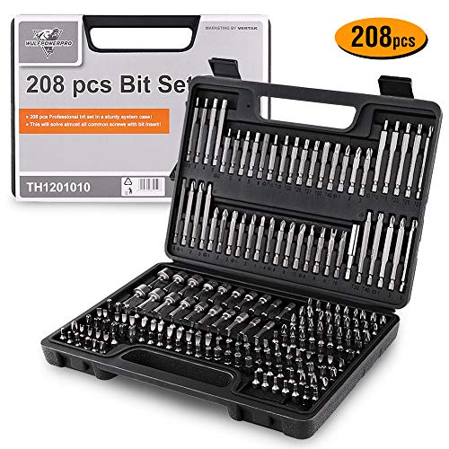 208 Piece Screwdriver Bit Set Security Bit Chrome Vanadium Steel Professional Ended Screw Tools Box by WULFPOWERPRO