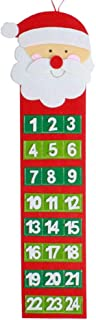 MOTOULAX Calendarios de Navidad Festivos de Fieltro Festivos con Bolsillos, Papá Noel no Tejido y Muñeco de Nieve Que Cuelgan el Calendario de Adviento de Navidad para Paredes, Ventanas y Puertas