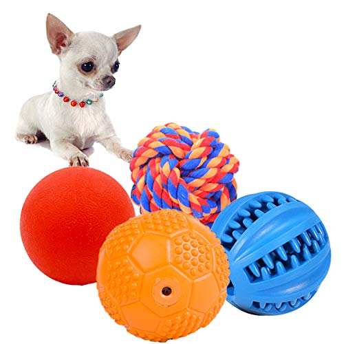 Volacopets 4 Pack Different Functions Puppy Chew Toys, Dog Chew Toy Durable,Squeaky Toys Ball for Small Dog,Chew Rubber Ball,Puppy Teething Toy,Rope Ball