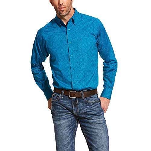ARIAT Men's Barrington Stretch Fitted Shirt Enamel_Blue Size XL