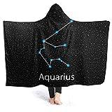 AEMAPE Constelación Signo del zodíaco Acuario Manta con Capucha Manta de Franela para sofá Cama Sofá 80 'x 60'